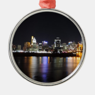Cincinnati skyline at night metal ornament