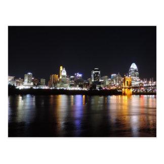 Cincinnati skyline at night postcard
