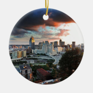 Cincinnati skyline at sunset ceramic ornament