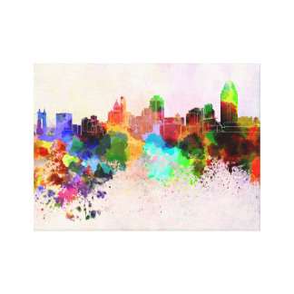 Cincinnati skyline in watercolor background canvas print