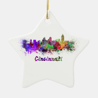 Cincinnati skyline in watercolor ceramic ornament