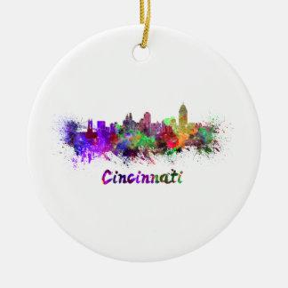 Cincinnati skyline in watercolor ceramic ornament