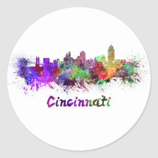 Cincinnati skyline in watercolor classic round sticker