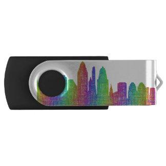 Cincinnati skyline swivel USB 3.0 flash drive