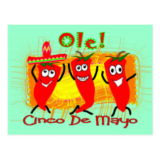 Cinco de Mayo 3 Dancing Chilli Peppers-Adorable Postcard