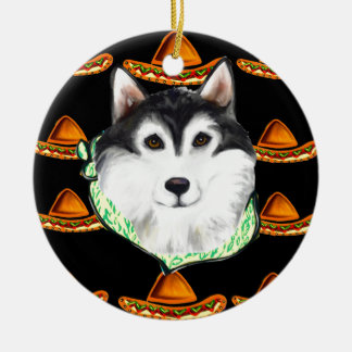 CINCO de MAYO  Alaskan Malamute Ceramic Ornament