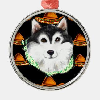 CINCO de MAYO  Alaskan Malamute Silver-Colored Round Ornament