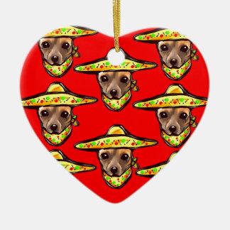 Cinco De Mayo Chihauhaus Ceramic Heart Ornament