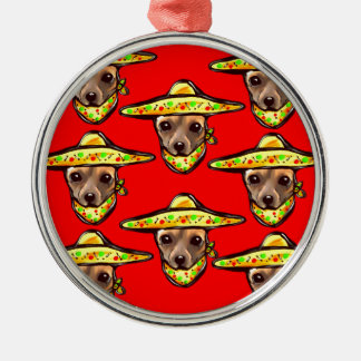 Cinco De Mayo Chihauhaus Silver-Colored Round Ornament