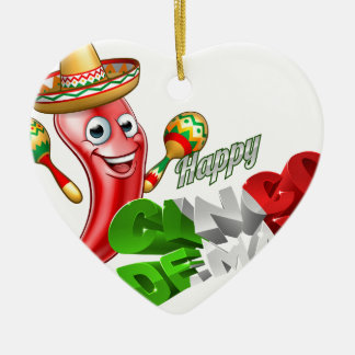 Cinco De Mayo Chilli Pepper Design Ceramic Heart Ornament
