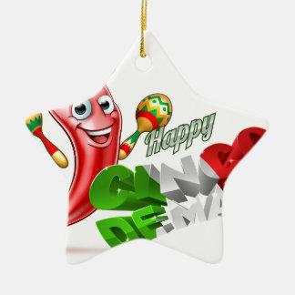 Cinco De Mayo Chilli Pepper Design Ceramic Star Ornament
