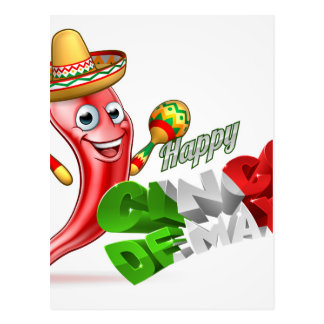 Cinco De Mayo Chilli Pepper Design Postcard