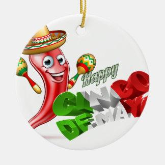 Cinco De Mayo Chilli Pepper Design Round Ceramic Ornament
