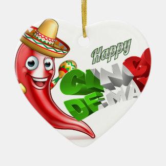 Cinco De Mayo Chilli Pepper Poster Design Ceramic Heart Ornament