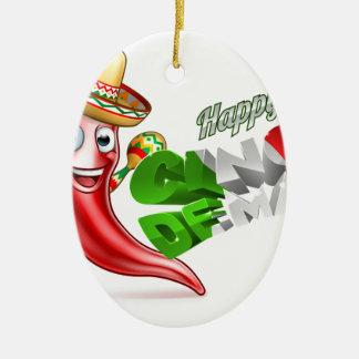 Cinco De Mayo Chilli Pepper Poster Design Ceramic Oval Ornament