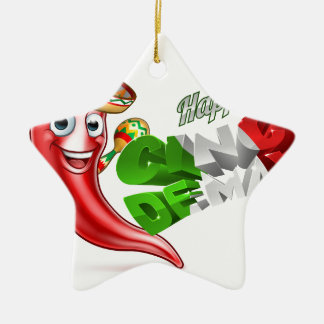 Cinco De Mayo Chilli Pepper Poster Design Ceramic Star Ornament