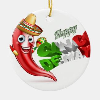 Cinco De Mayo Chilli Pepper Poster Design Round Ceramic Ornament