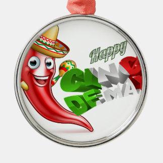 Cinco De Mayo Chilli Pepper Poster Design Silver-Colored Round Ornament