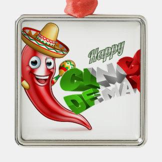 Cinco De Mayo Chilli Pepper Poster Design Silver-Colored Square Ornament
