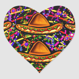Cinco de Mayo Design Heart Sticker