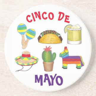 Cinco de Mayo Fiesta Pinata Taco Cactus Maracas Coaster