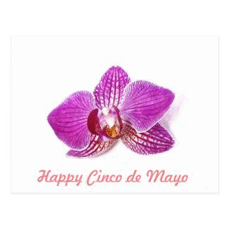 Cinco de Mayo, Lilac Orchid floral watercolor art Postcard