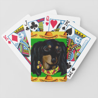 Cinco de Mayo Long Haired Black  Doxie Bicycle Playing Cards
