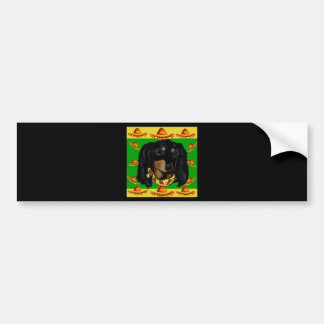Cinco de Mayo Long Haired Black  Doxie Bumper Sticker