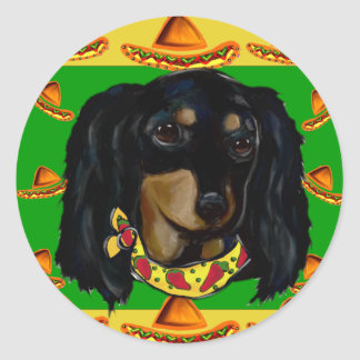 Cinco de Mayo Long Haired Black  Doxie Classic Round Sticker