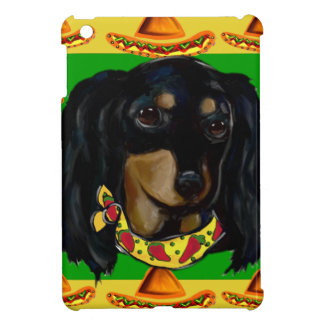 Cinco de Mayo Long Haired Black  Doxie Cover For The iPad Mini