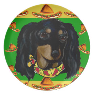 Cinco de Mayo Long Haired Black  Doxie Dinner Plates