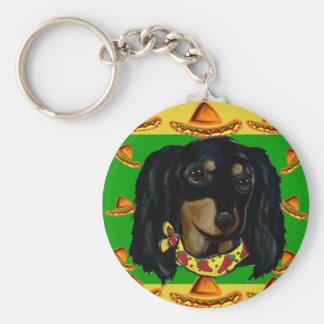 Cinco de Mayo Long Haired Black  Doxie Keychain
