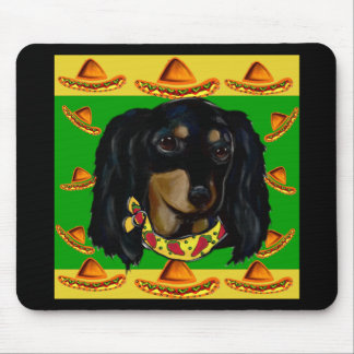 Cinco de Mayo Long Haired Black  Doxie Mouse Pad