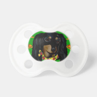 Cinco de Mayo Long Haired Black  Doxie Pacifier