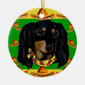 Cinco de Mayo Long Haired Black  Doxie Round Ceramic Ornament