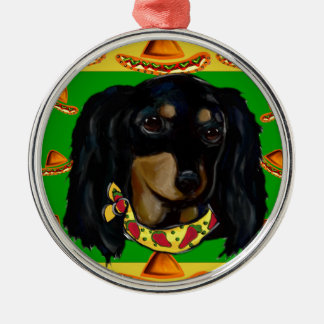 Cinco de Mayo Long Haired Black  Doxie Silver-Colored Round Ornament