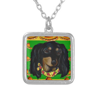 Cinco de Mayo Long Haired Black  Doxie Silver Plated Necklace