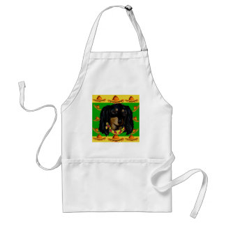 Cinco de Mayo Long Haired Black  Doxie Standard Apron