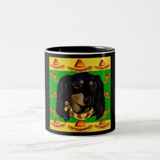 Cinco de Mayo Long Haired Black  Doxie Two-Tone Coffee Mug