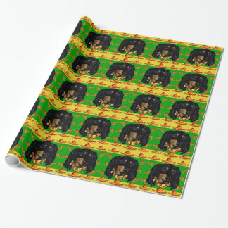 Cinco de Mayo Long Haired Black  Doxie Wrapping Paper