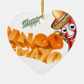 Cinco De Mayo Mexican Chilli Pepper Design Ceramic Heart Ornament