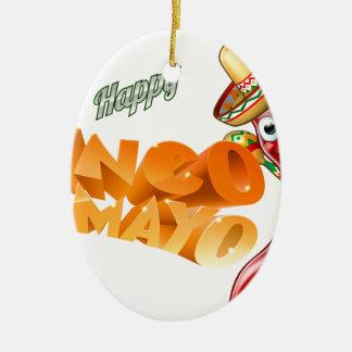 Cinco De Mayo Mexican Chilli Pepper Design Ceramic Oval Ornament