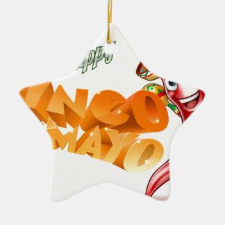 Cinco De Mayo Mexican Chilli Pepper Design Ceramic Star Ornament