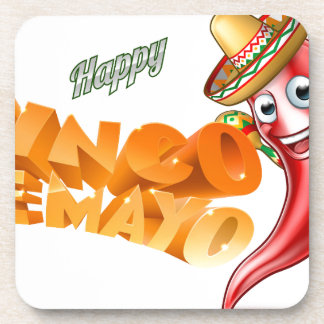 Cinco De Mayo Mexican Chilli Pepper Design Coaster