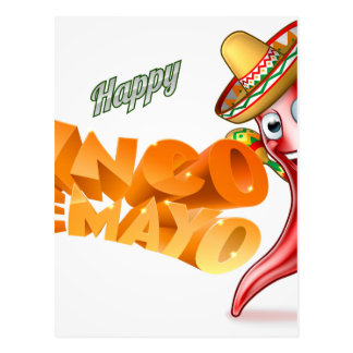 Cinco De Mayo Mexican Chilli Pepper Design Postcard