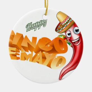 Cinco De Mayo Mexican Chilli Pepper Design Round Ceramic Ornament