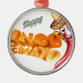 Cinco De Mayo Mexican Chilli Pepper Design Silver-Colored Round Ornament