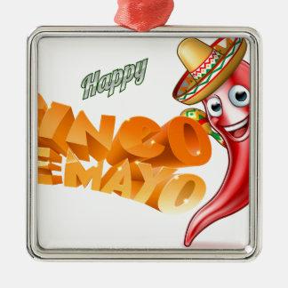 Cinco De Mayo Mexican Chilli Pepper Design Silver-Colored Square Ornament