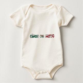 Cinco de Mayo Mexico Mexican Flag Color Typography Baby Bodysuit
