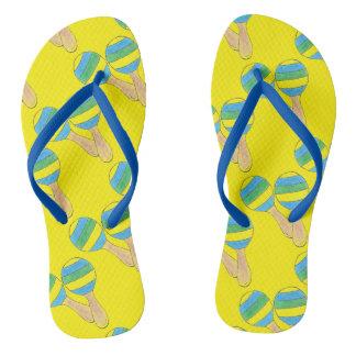 Cinco de Mayo Music Yellow Maracas Maraca Print Flip Flops